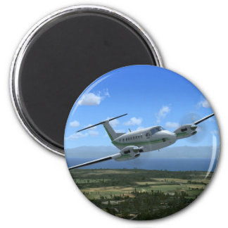King-Air Turboprop Aircraft 6 Cm Round Magnet