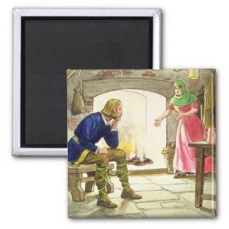 King Alfred 849-99 burning the cakes from Peep Fridge Magnet