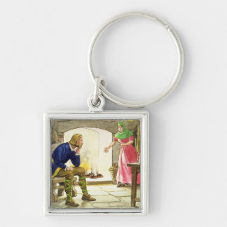 King Alfred (849-99) burning the cakes, from 'Peep Silver-Colored Square Key Ring