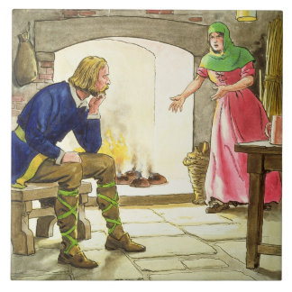 King Alfred (849-99) burning the cakes, from 'Peep Tile