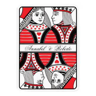 King and Queen of Hearts Playing Card Wedding 13 Cm X 18 Cm Invitation Card