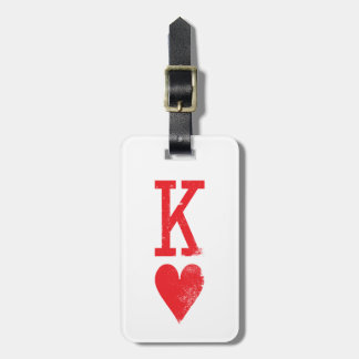 King and Queen of Hearts Playing Cards Couples Luggage Tag