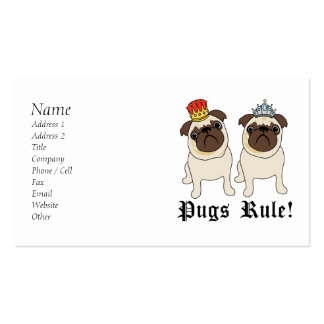 King and Queen Pug Business Cards
