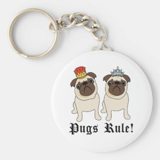 King and Queen Pugs Rule Keychains
