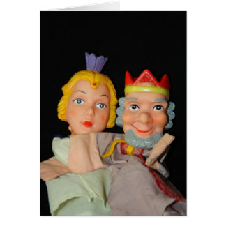 King and Queen Puppets Card