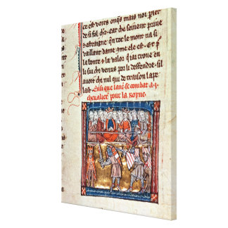 King Arthur and Guinevere watching a Stretched Canvas Print
