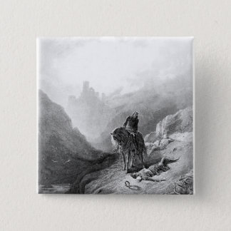 King Arthur discovers the Skeletons 15 Cm Square Badge