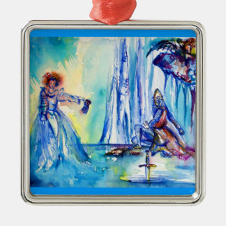 KING ARTHUR ,LADY OF THE LAKE AND EXCALIBUR SQUARE METAL CHRISTMAS ORNAMENT