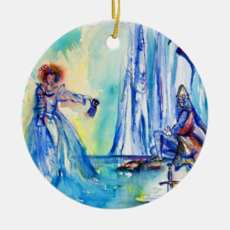 KING ARTHUR ,LADY OF THE LAKE AND EXCALIBUR ROUND CERAMIC DECORATION