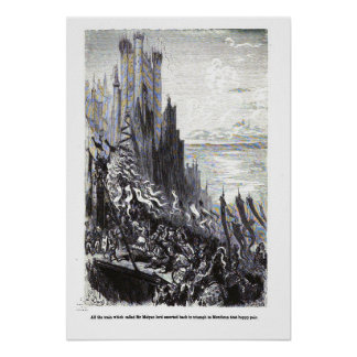 King Arthur Myth Castle Poster Gustave Dore