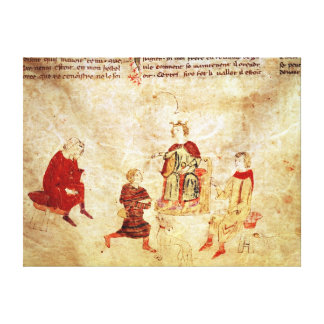 King Arthur on his Throne Surrounded Canvas Print