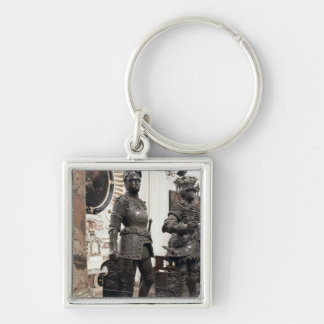 King Arthur, statue from the tomb of Maximilian Silver-Colored Square Key Ring