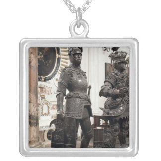 King Arthur, statue from the tomb of Maximilian Square Pendant Necklace