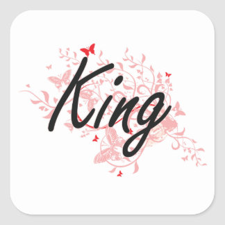 King Artistic Job Design with Butterflies Square Sticker