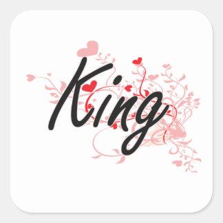 King Artistic Job Design with Hearts Square Sticker