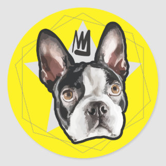 King Boston Terrier Bumper Classic Round Sticker