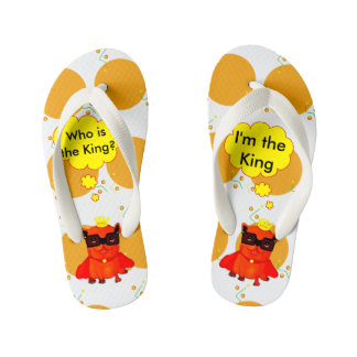King Bulldog illustration, cool bulldog Flip Flops