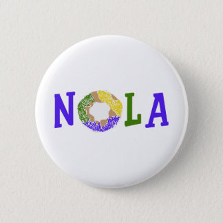KING CAKE NOLA 6 CM ROUND BADGE