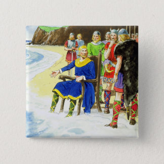 King Canute (c.995-1035) from 'Peeps into the Past 15 Cm Square Badge