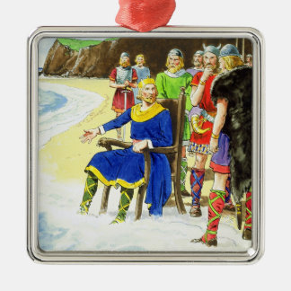 King Canute (c.995-1035) from 'Peeps into the Past Silver-Colored Square Decoration