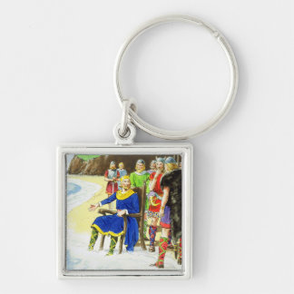 King Canute (c.995-1035) from 'Peeps into the Past Silver-Colored Square Key Ring