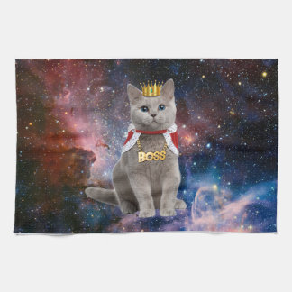 king cat in the space tea towel