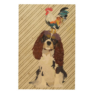 King Cavalier & Rooster Wooden Canvas Wood Canvas