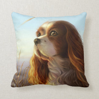King Charles cavalier dog in autumn painting Throw Pillow