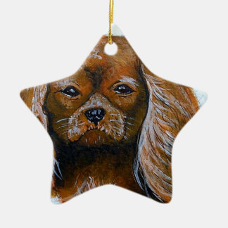 King Charles Cavalier Spaniel red Ceramic Star Decoration