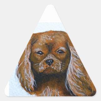 King Charles Cavalier Spaniel red Triangle Sticker