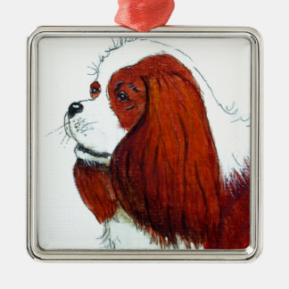 King Charles Cavalier Spaniel Silver-Colored Square Decoration