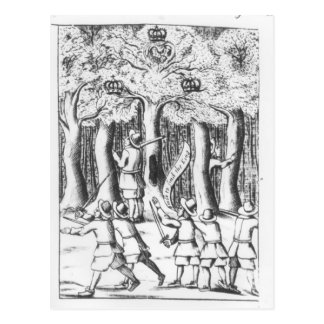 King Charles II  hiding in an oak tree Postcard