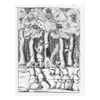 King Charles II  hiding in an oak tree Postcard