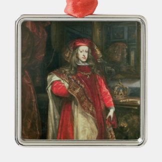 King Charles II of Spain Silver-Colored Square Decoration