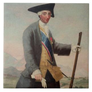 King Charles III (1716-88) as a Huntsman, 1786/88 Large Square Tile