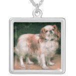 King Charles Spaniel, 1907 Square Pendant Necklace