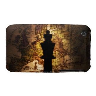 King chess piece on old world map Case-Mate iPhone 3 cases
