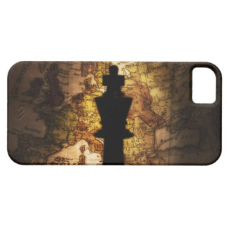 King chess piece on old world map iPhone 5 cases
