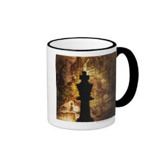 King chess piece on old world map ringer coffee mug