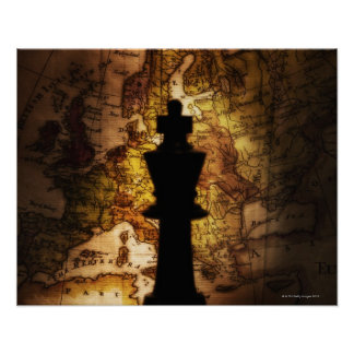 King chess piece on old world map poster