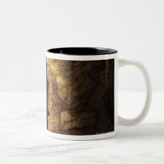 King chess piece on old world map Two-Tone coffee mug