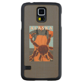 King Crab and Fisherman Vintage Travel Poster Maple Galaxy S5 Slim Case