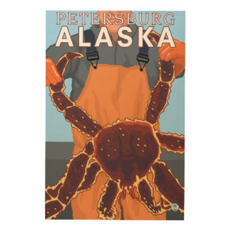 King Crab Fisherman - Petersburg, Alaska Wood Prints