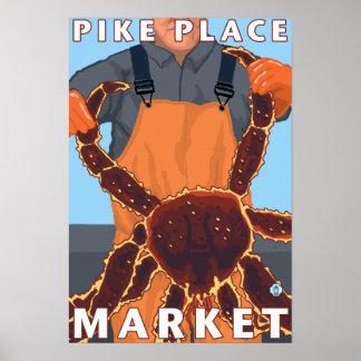King Crab Fisherman - Pike Place Market, Seattle Poster