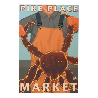 King Crab Fisherman - Pike Place Market, Seattle Wood Canvases