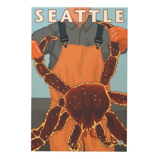 King Crab Fisherman - Seattle, Washington Wood Canvas