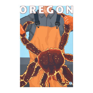 King Crab Fisherman- Vintage Travel Poster Gallery Wrapped Canvas