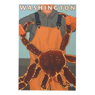 King Crab Fisherman - Washington Wood Canvas