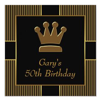 King Crown Mans Black Gold Birthday Party 13 Cm X 13 Cm Square Invitation Card