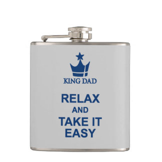 King Dad relax and take it easy blue hip flask